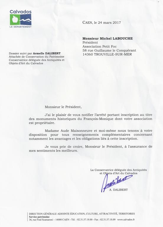 Inscription du FM au itre des monuments historiques a